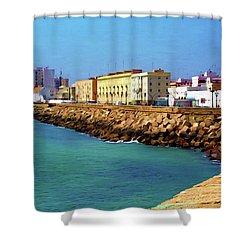 Seafront Promenade In Cadiz Shower Curtain