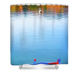 Shower Curtain featuring the photograph Seagull And Boat by Silvia Ganora