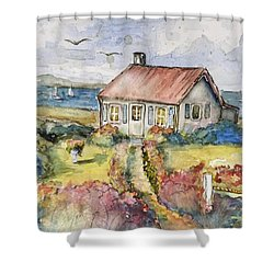 Seagull Cottage Shower Curtain by P Maure Bausch