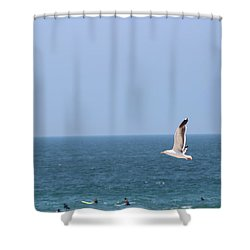 Seagull Flying Over Huntington Beach Shower Curtain