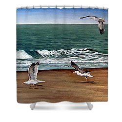 Shower Curtain featuring the painting Seagulls 2 by Natalia Tejera