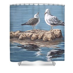Shower Curtain featuring the painting Seagulls In The Sea by Natalia Tejera