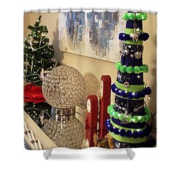 Seahawk Christmas Shower Curtain