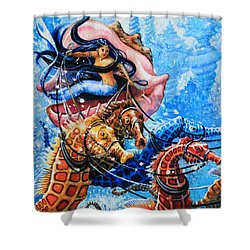 Seahorse Coach Shower Curtain by Hanne Lore Koehler