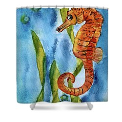 Seahorse With Sea Grass Shower Curtain