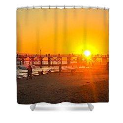 Seal Beach Pier Sunset Shower Curtain by Mark Barclay