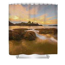 Seal Rock Sunset Shower Curtain