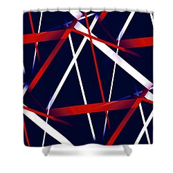 Seamless Red And White Stripes On A Blue Background Shower Curtain