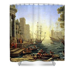 Seaport With The Embarkation Of Saint Ursula  Shower Curtain by Claude Lorrain
