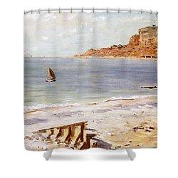 Seascape At Sainte Adresse  Shower Curtain by Claude Monet