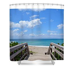 Seascape  Boardwalks Treasure Coast Florida Collage 1 Shower Curtain