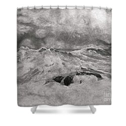 Seascape In Graphite Shower Curtain by John Stuart Webbstock