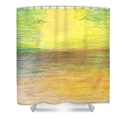 Shower Curtain featuring the drawing Seascape by Karen Nicholson