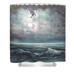 Shower Curtain featuring the painting Moonlit  by Luczay