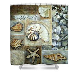 Shower Curtain featuring the painting Seashells by Chris Hobel