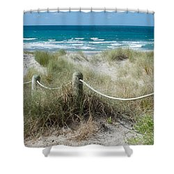 Shower Curtain featuring the photograph Seaside Beach Ropes by Jocelyn Friis