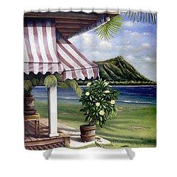 Seaside Hotel Shower Curtain by Sandra Blazel - Printscapes