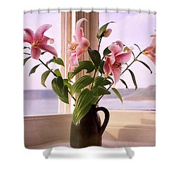 Seaside Lilies Shower Curtain by Terri Waters