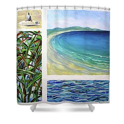 Shower Curtain featuring the painting Seaside Memories by Chris Hobel