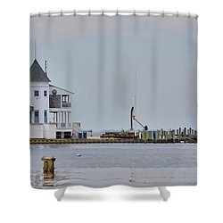 Seaside Park Yacht Club Shower Curtain by Sami Martin