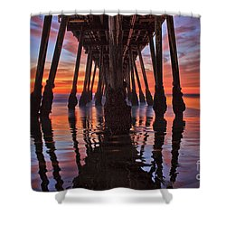 Seaside Reflections Under The Imperial Beach Pier Shower Curtain