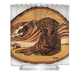 Shower Curtain featuring the pyrography Seaside Sam by Denise Tomasura