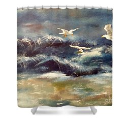 Shower Curtain featuring the painting Seaside Serenade by Denise Tomasura