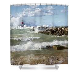Shower Curtain featuring the photograph Seaside Splash by Kathi Mirto
