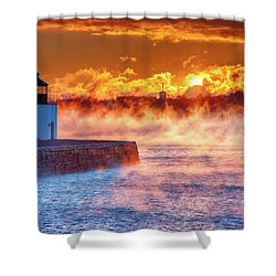 Seasmoke At Salem Lighthouse Shower Curtain