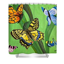 Season Of Butterflies Shower Curtain by Donna Blossom