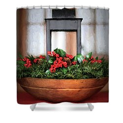 Shower Curtain featuring the photograph Seasons Greetings Christmas Centerpiece by Shelley Neff