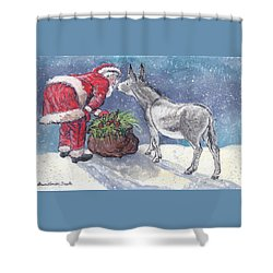 Shower Curtain featuring the painting Season's Greetings by Dawn Senior-Trask