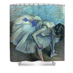 Seated Dancer Shower Curtain by Edgar Degas