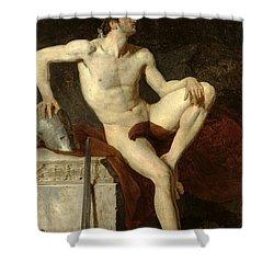 Seated Gladiator Shower Curtain by Jean Germain Drouais