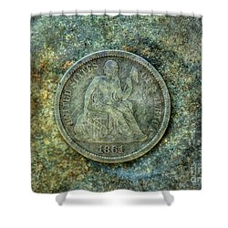 Shower Curtain featuring the digital art Seated Libery Dime Coin Obverse by Randy Steele