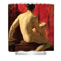 Seated Male Model Shower Curtain by William Etty