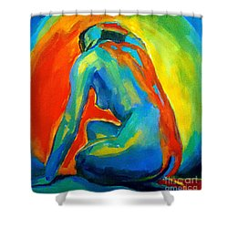 Seated Nude Facing A Star Shower Curtain