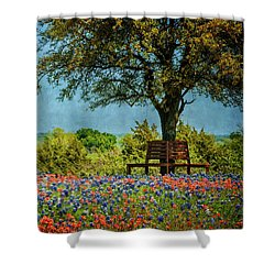 Shower Curtain featuring the photograph Seating For Two by Ken Smith