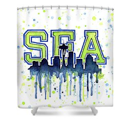 Seattle Watercolor 12th Man Art Painting Space Needle Go Seahawks Shower Curtain by Olga Shvartsur