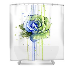 Seattle 12th Man Seahawks Watercolor Rose Shower Curtain by Olga Shvartsur