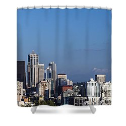 Seattle And Mt Rainier Shower Curtain by Ed Clark