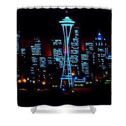 Seattle By Black Light Shower Curtain