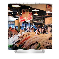 Shower Curtain featuring the photograph Seattle Fish Throw Pike St Market by Peter Simmons