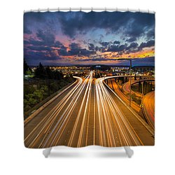 Seattle Freeway Light Trails Shower Curtain