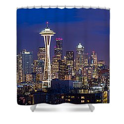 Seattle Night View Shower Curtain by Ken Stanback