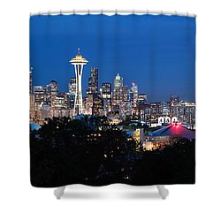 Shower Curtain featuring the photograph Seattle Panorama At Twilight by Peter Simmons