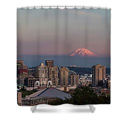 Shower Curtain featuring the photograph Seattle Skyline And Mt. Rainier Panoramic Hd by Adam Romanowicz