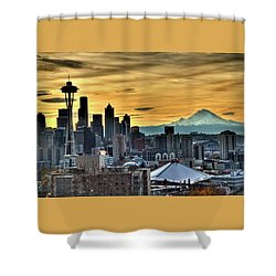Seattle Skyline - Mt Rainier Shower Curtain