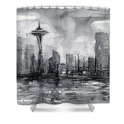 Seattle Skyline Painting Watercolor  Shower Curtain by Olga Shvartsur