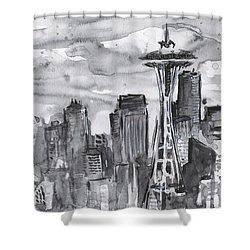 Seattle Skyline Space Needle Shower Curtain by Olga Shvartsur